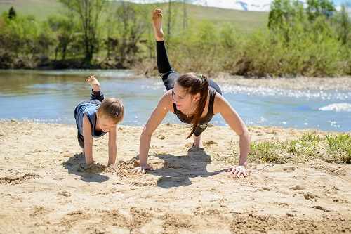 mother and son yoga
